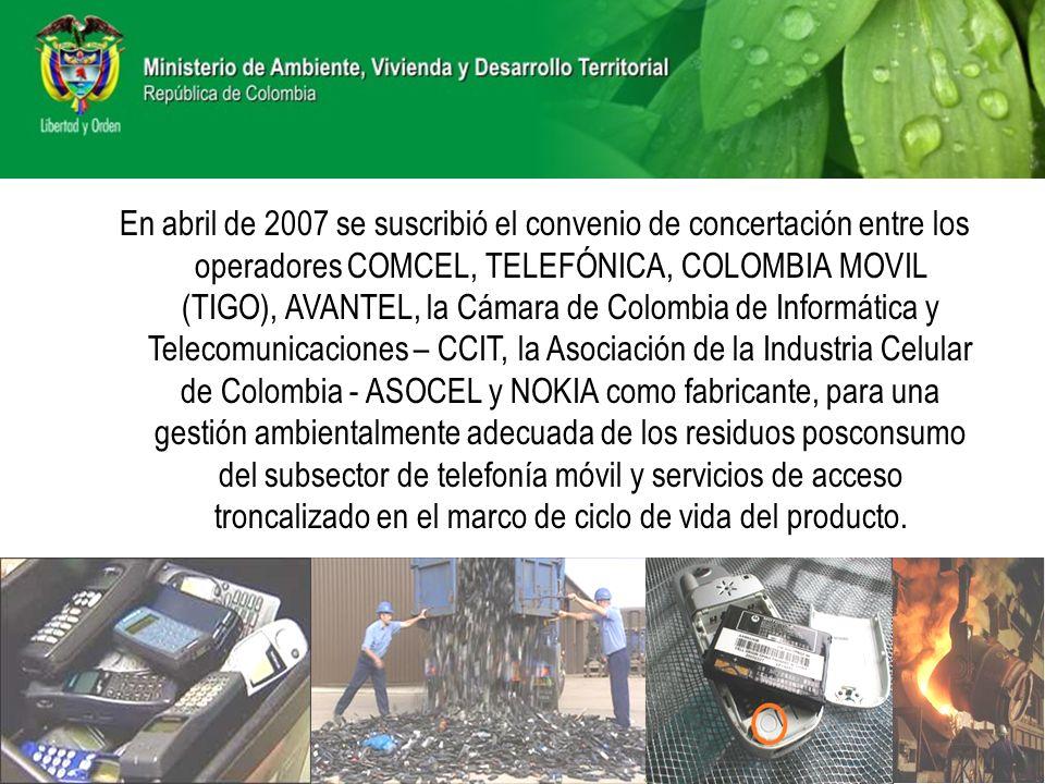 En abril de 2007 se suscribió el convenio de concertación entre los operadores COMCEL, TELEFÓNICA, COLOMBIA MOVIL (TIGO), AVANTEL, la Cámara de Colomb