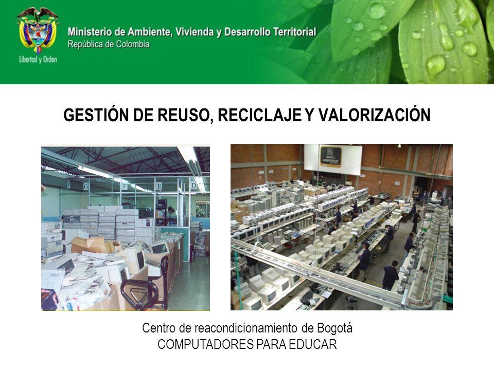GESTIÓN DE REUSO, RECICLAJE Y VALORIZACIÓN Centro de reacondicionamiento de Bogotá COMPUTADORES PARA EDUCAR