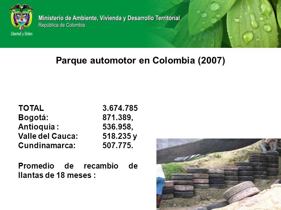 Parque automotor en Colombia (2007) TOTAL 3.674.785 Bogotá: 871.389, Antioquia : 536.958, Valle del Cauca: 518.235 y Cundinamarca: 507.775. Promedio d