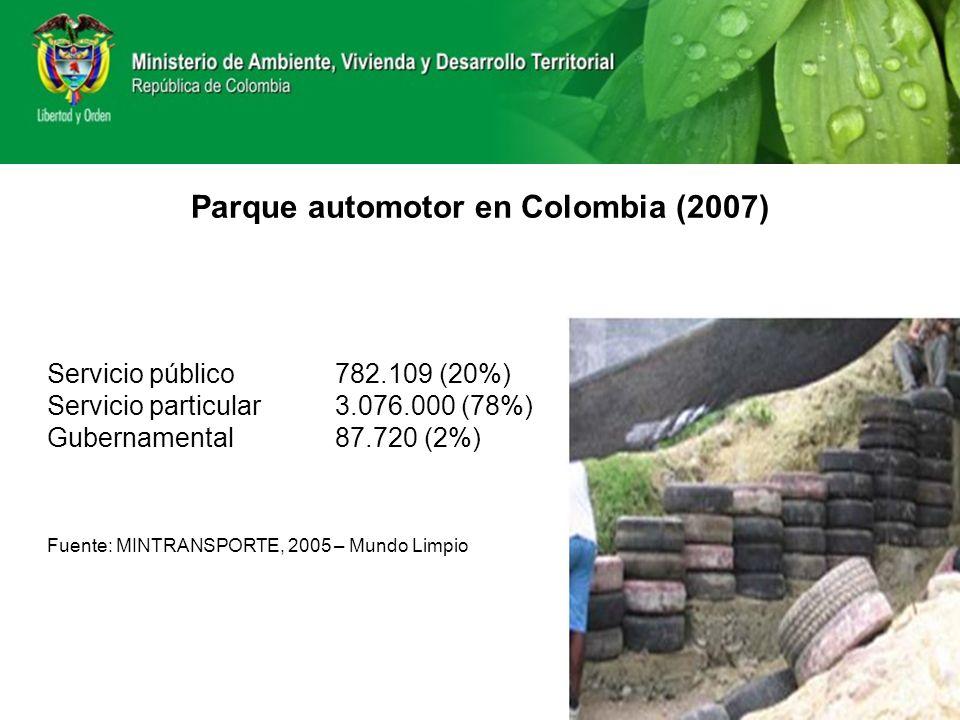 Parque automotor en Colombia (2007) Servicio público 782.109 (20%) Servicio particular3.076.000 (78%) Gubernamental 87.720 (2%) Fuente: MINTRANSPORTE,
