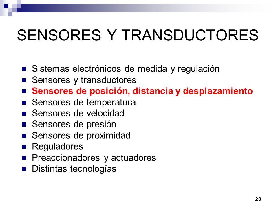 20 SENSORES Y TRANSDUCTORES Sistemas electrónicos de medida y regulación Sensores y transductores Sensores de posición, distancia y desplazamiento Sen