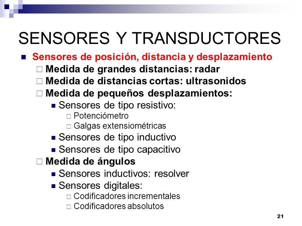 21 SENSORES Y TRANSDUCTORES Sensores de posición, distancia y desplazamiento Medida de grandes distancias: radar Medida de distancias cortas: ultrason