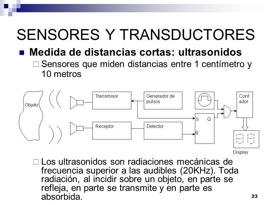 23 SENSORES Y TRANSDUCTORES Medida de distancias cortas: ultrasonidos Sensores que miden distancias entre 1 centímetro y 10 metros Los ultrasonidos so