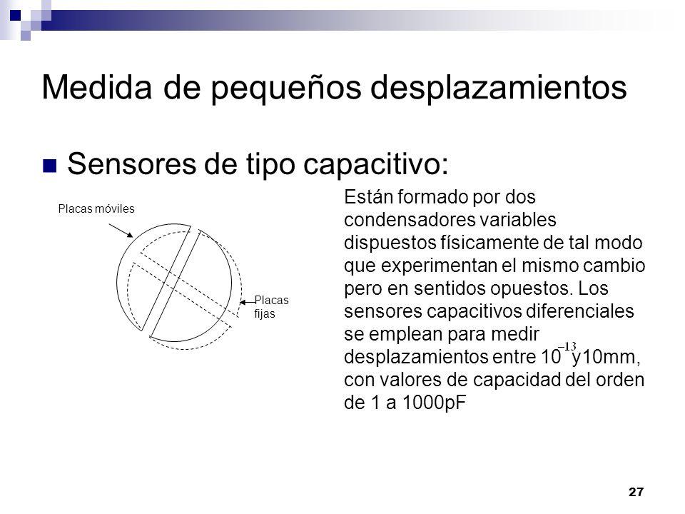 27 Sensores de tipo capacitivo: Están formado por dos condensadores variables dispuestos físicamente de tal modo que experimentan el mismo cambio pero