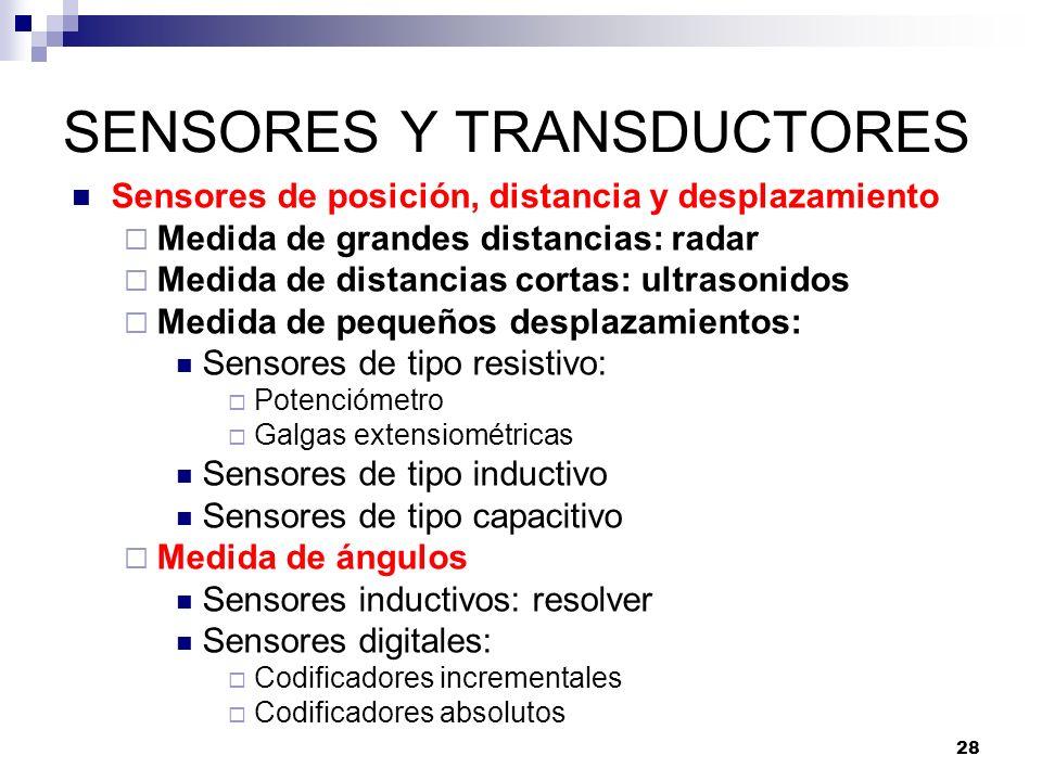 28 SENSORES Y TRANSDUCTORES Sensores de posición, distancia y desplazamiento Medida de grandes distancias: radar Medida de distancias cortas: ultrason