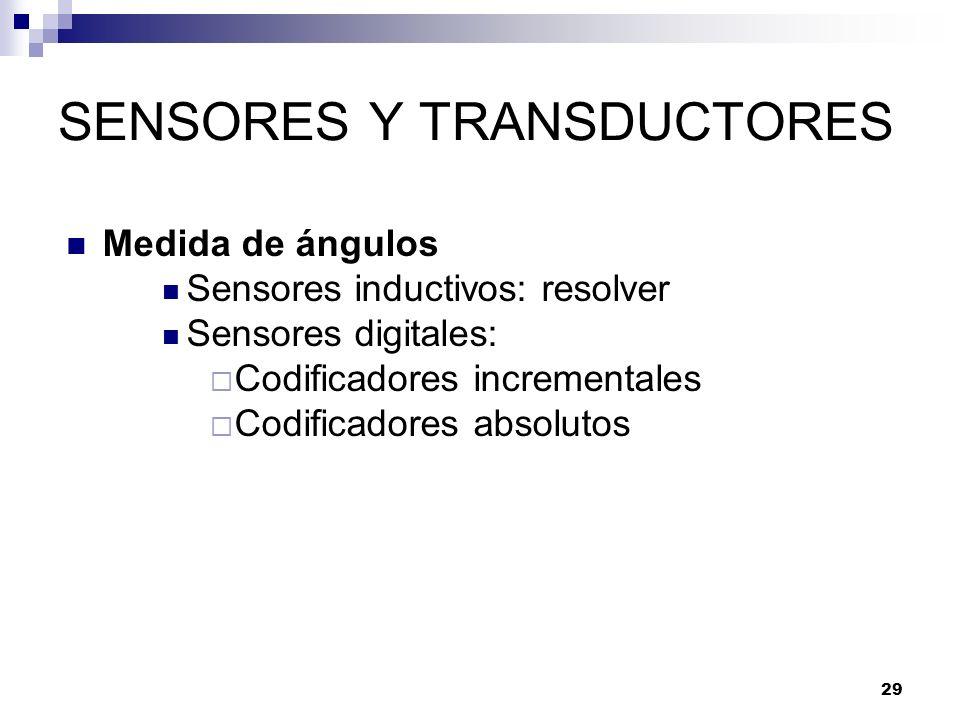 29 SENSORES Y TRANSDUCTORES Medida de ángulos Sensores inductivos: resolver Sensores digitales: Codificadores incrementales Codificadores absolutos