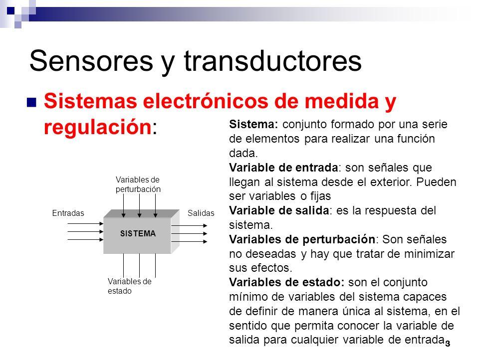 3 Sensores y transductores Sistemas electrónicos de medida y regulación: EntradasSalidas Variables de perturbación Variables de estado SISTEMA Sistema