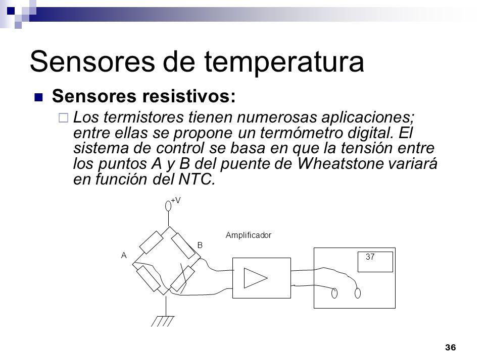 36 Sensores de temperatura Sensores resistivos: Los termistores tienen numerosas aplicaciones; entre ellas se propone un termómetro digital. El sistem