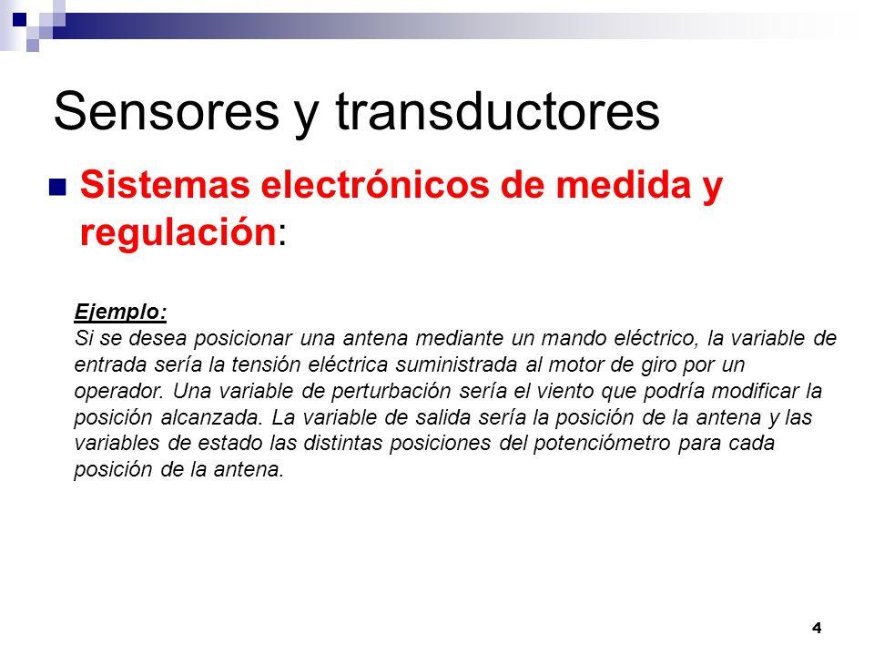 4 Sensores y transductores Sistemas electrónicos de medida y regulación: Ejemplo: Si se desea posicionar una antena mediante un mando eléctrico, la va