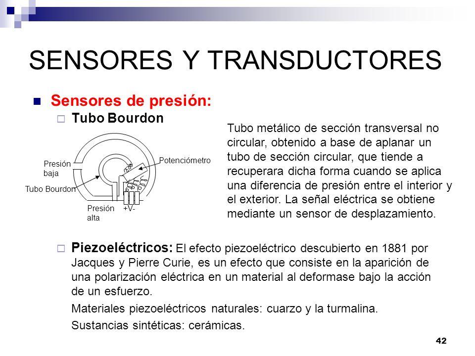 42 SENSORES Y TRANSDUCTORES Sensores de presión: Tubo Bourdon Piezoeléctricos: El efecto piezoeléctrico descubierto en 1881 por Jacques y Pierre Curie