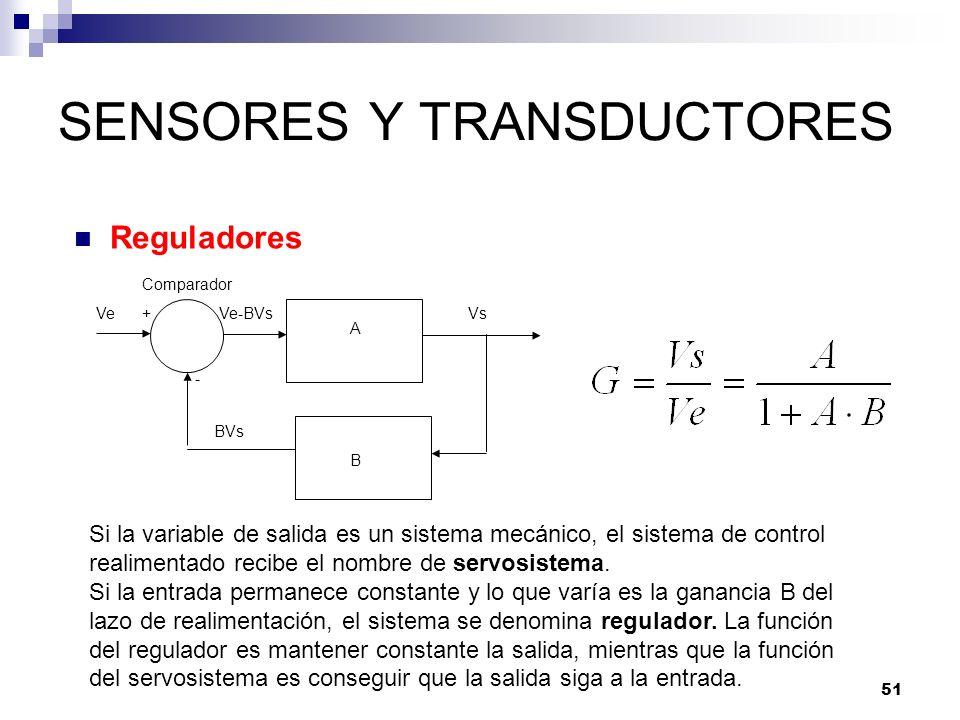 51 SENSORES Y TRANSDUCTORES Reguladores A B VeVs+ - Comparador BVs Ve-BVs Si la variable de salida es un sistema mecánico, el sistema de control reali