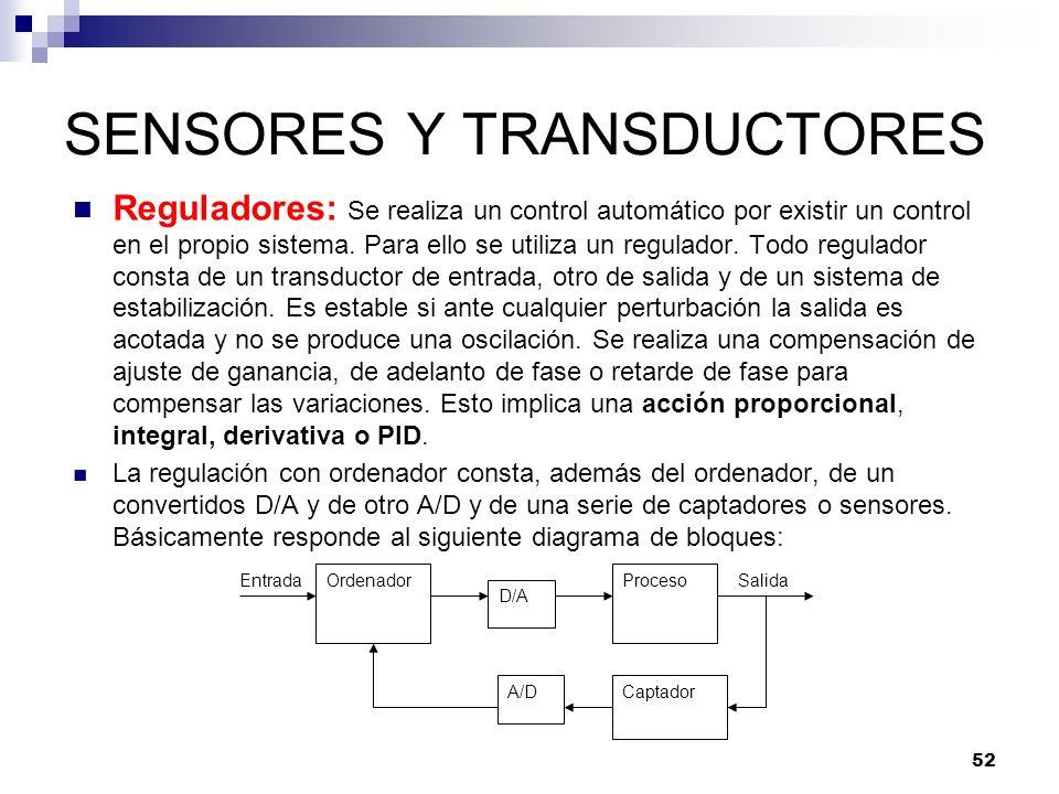 52 SENSORES Y TRANSDUCTORES Reguladores: Se realiza un control automático por existir un control en el propio sistema. Para ello se utiliza un regulad