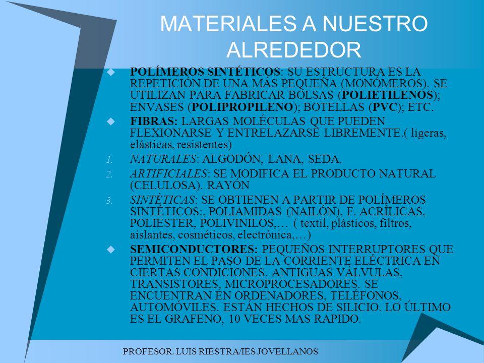 PROFESOR. LUIS RIESTRA/IES JOVELLANOS MATERIALES A NUESTRO ALREDEDOR POLÍMEROS SINTÉTICOS: SU ESTRUCTURA ES LA REPETICIÓN DE UNA MÁS PEQUEÑA (MONÓMERO