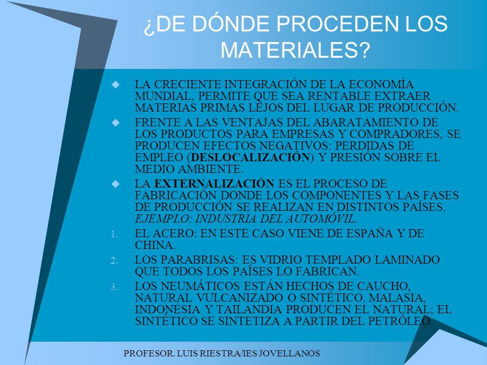 PROFESOR. LUIS RIESTRA/IES JOVELLANOS ¿DE DÓNDE PROCEDEN LOS MATERIALES? LA CRECIENTE INTEGRACIÓN DE LA ECONOMÍA MUNDIAL, PERMITE QUE SEA RENTABLE EXT