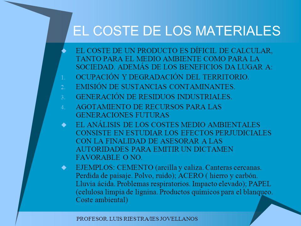 PROFESOR. LUIS RIESTRA/IES JOVELLANOS EL COSTE DE LOS MATERIALES EL COSTE DE UN PRODUCTO ES DÍFICIL DE CALCULAR, TANTO PARA EL MEDIO AMBIENTE COMO PAR