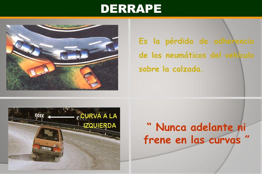 DERRAPE Es la pérdida de adherencia de los neumáticos del vehículo sobre la calzada. Nunca adelante ni frene en las curvas