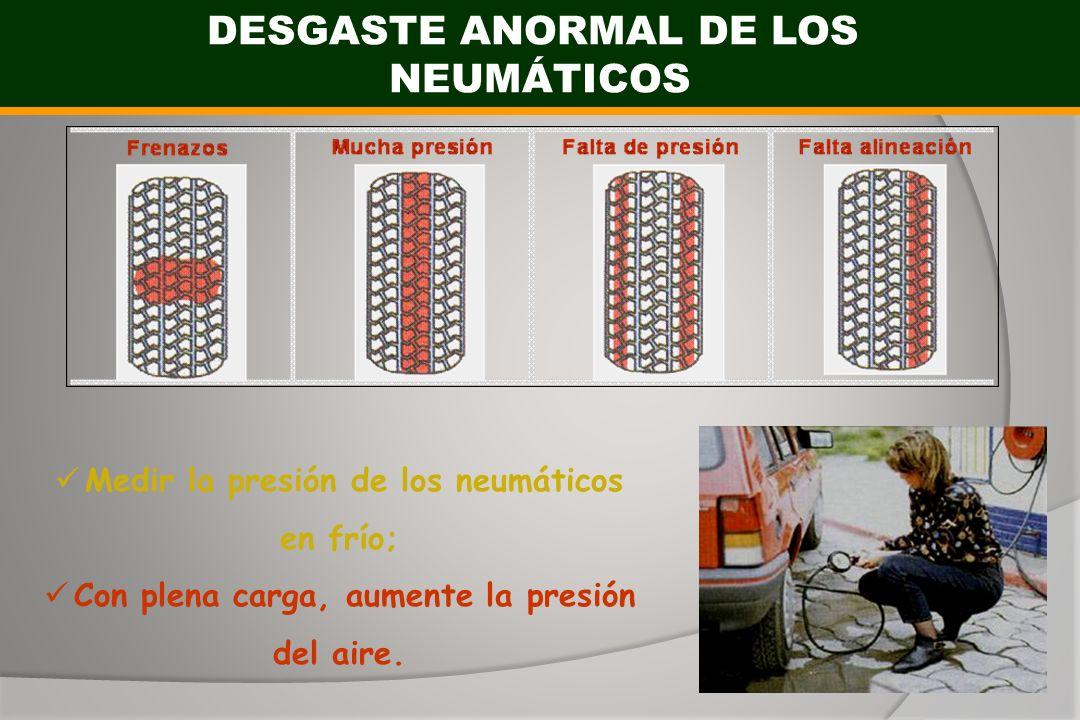 DESGASTE ANORMAL DE LOS NEUMÁTICOS Medir la presión de los neumáticos en frío; Con plena carga, aumente la presión del aire.