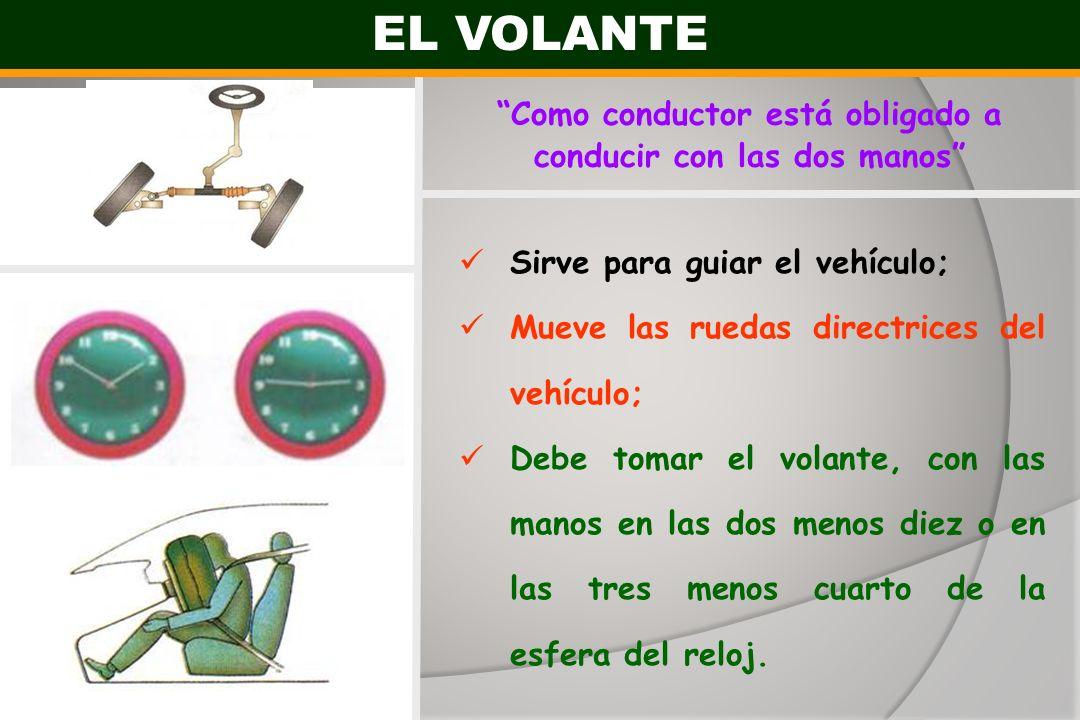 EL VOLANTE Sirve para guiar el vehículo; Mueve las ruedas directrices del vehículo; Debe tomar el volante, con las manos en las dos menos diez o en la