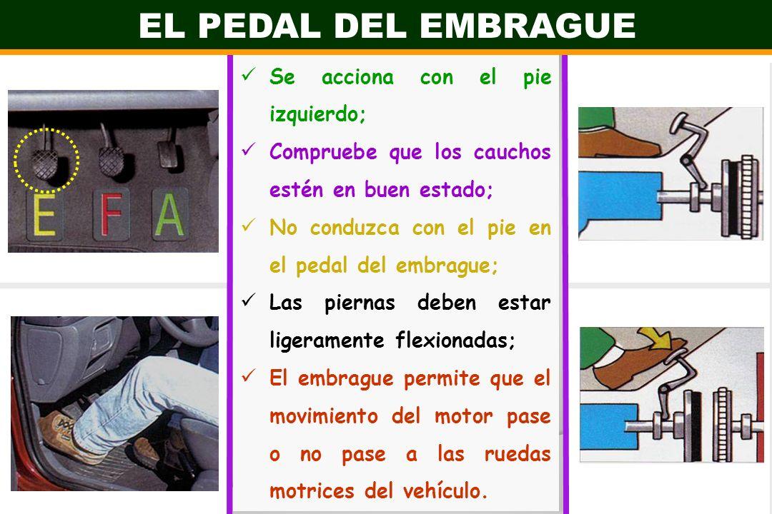 EL PEDAL DEL EMBRAGUE Se acciona con el pie izquierdo; Compruebe que los cauchos estén en buen estado; No conduzca con el pie en el pedal del embrague