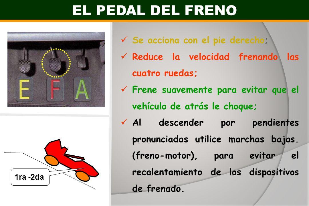 Se acciona con el pie derecho; Reduce la velocidad frenando las cuatro ruedas; Frene suavemente para evitar que el vehículo de atrás le choque; Al des