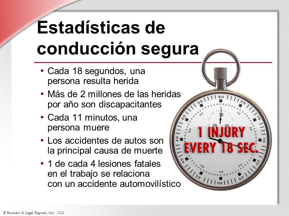 © Business & Legal Reports, Inc. 1012 Estadísticas de conducción segura Cada 18 segundos, una persona resulta herida Más de 2 millones de las heridas