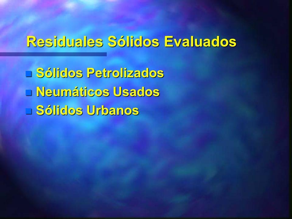 Residuales Sólidos Evaluados n Sólidos Petrolizados n Neumáticos Usados n Sólidos Urbanos