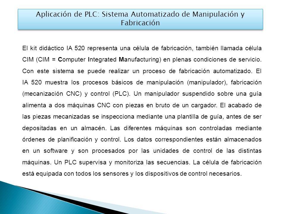 El kit didáctico IA 520 representa una célula de fabricación, también llamada célula CIM (CIM = Computer Integrated Manufacturing) en plenas condiciones de servicio.