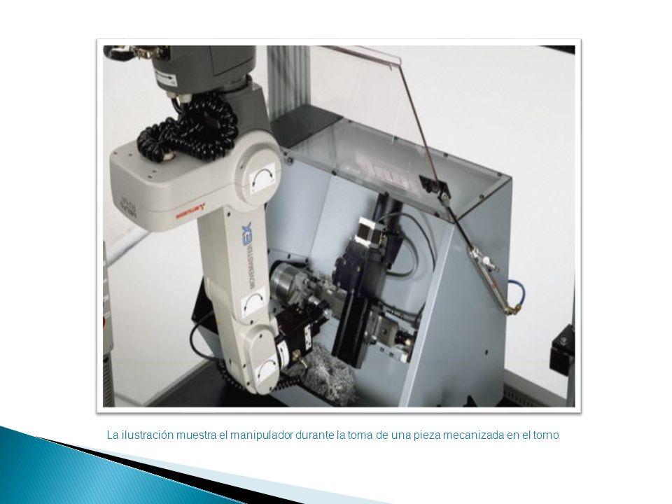 La ilustración muestra el manipulador durante la toma de una pieza mecanizada en el torno