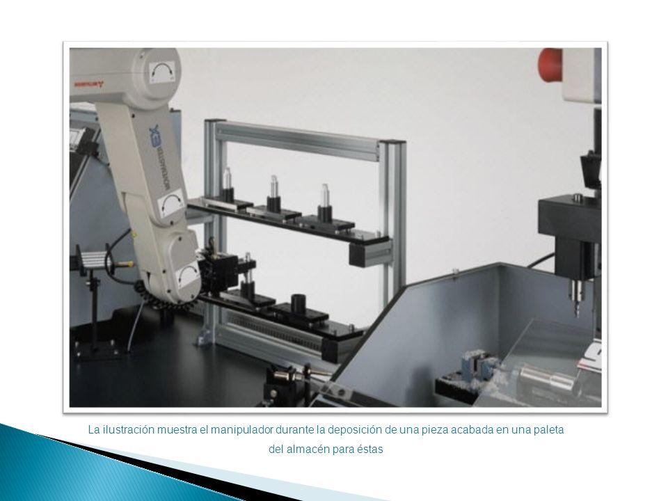 La ilustración muestra el manipulador durante la deposición de una pieza acabada en una paleta del almacén para éstas