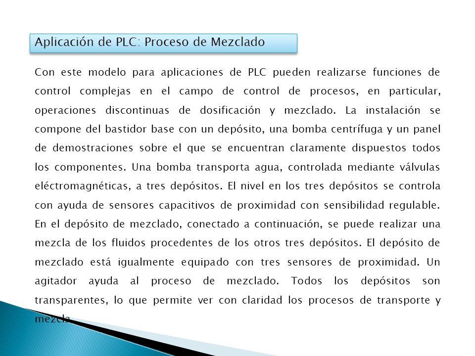 Aplicación de PLC: Proceso de Mezclado Con este modelo para aplicaciones de PLC pueden realizarse funciones de control complejas en el campo de contro