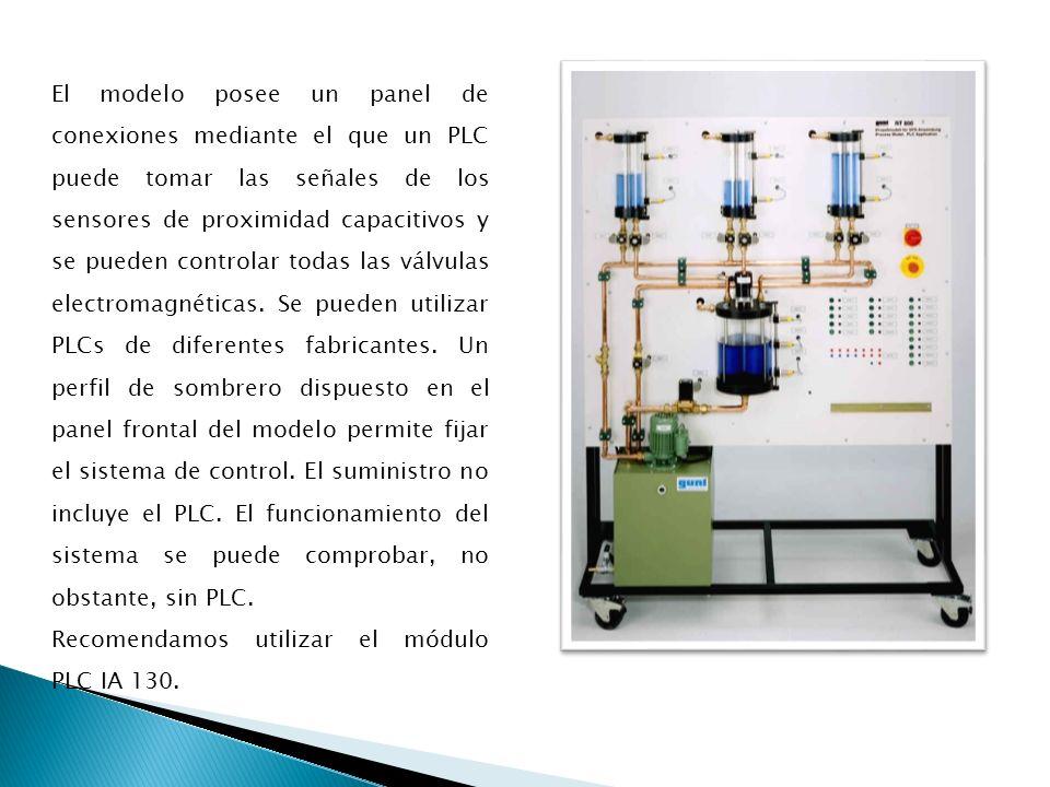 El modelo posee un panel de conexiones mediante el que un PLC puede tomar las señales de los sensores de proximidad capacitivos y se pueden controlar todas las válvulas electromagnéticas.
