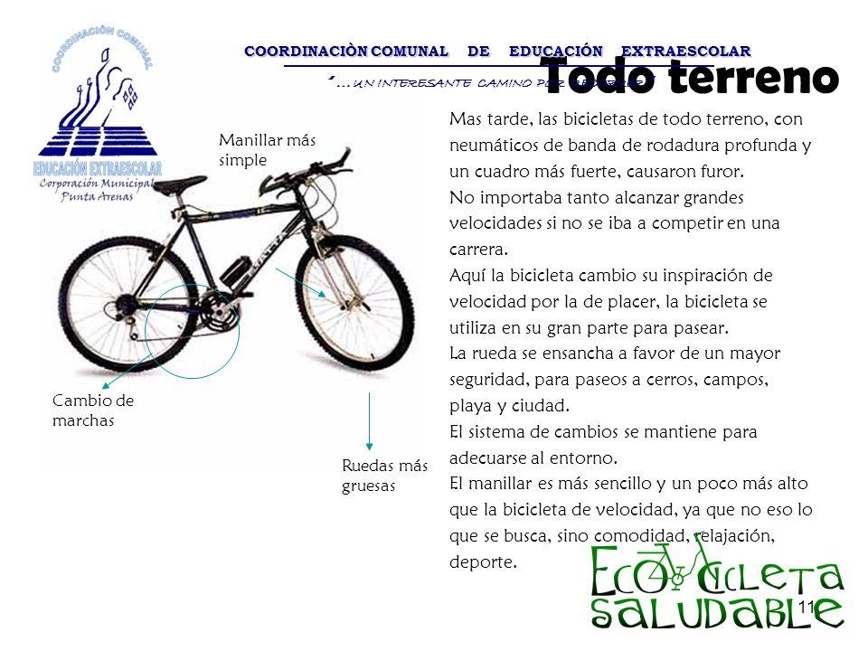 11 Todo terreno Mas tarde, las bicicletas de todo terreno, con neumáticos de banda de rodadura profunda y un cuadro más fuerte, causaron furor. No imp