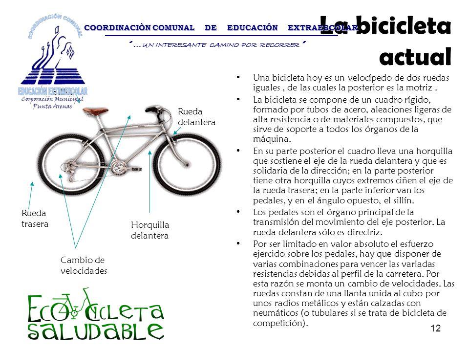12 La bicicleta actual Una bicicleta hoy es un velocípedo de dos ruedas iguales, de las cuales la posterior es la motriz. La bicicleta se compone de u