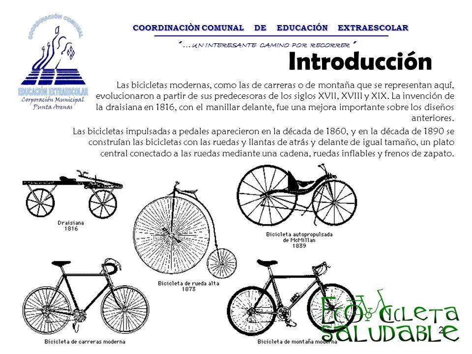 2 Introducción Las bicicletas modernas, como las de carreras o de montaña que se representan aquí, evolucionaron a partir de sus predecesoras de los s