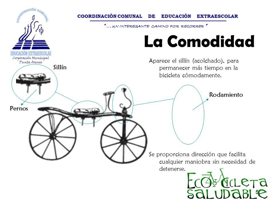 5 Aparece el sillín (acolchado), para permanecer más tiempo en la bicicleta cómodamente. Se proporciona dirección que facilita cualquier maniobra sin