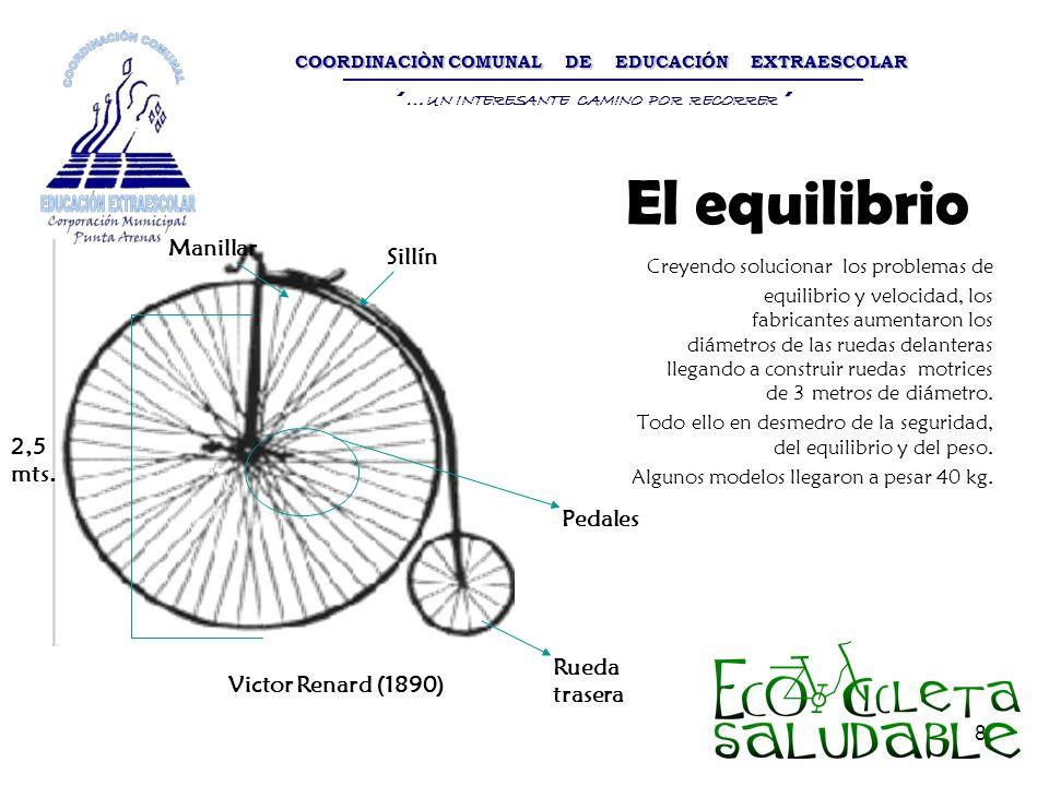 8 El equilibrio Creyendo solucionar los problemas de equilibrio y velocidad, los fabricantes aumentaron los diámetros de las ruedas delanteras llegand