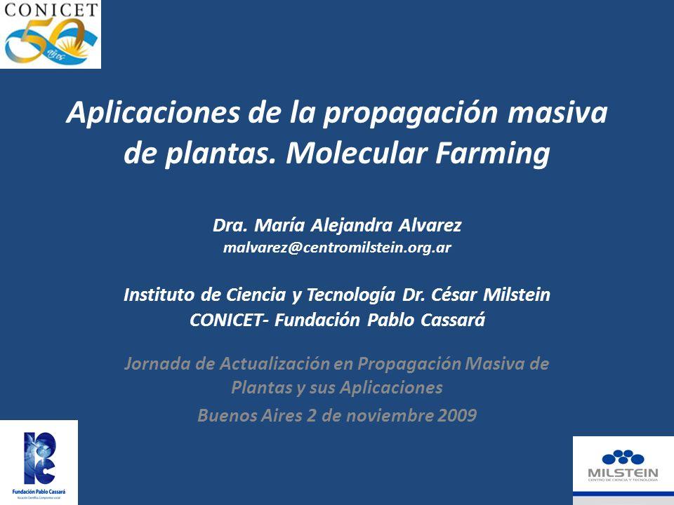 Aplicaciones de la propagación masiva de plantas.Molecular Farming Dra.