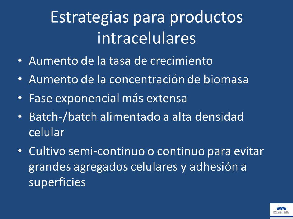 Estrategias para productos intracelulares Aumento de la tasa de crecimiento Aumento de la concentración de biomasa Fase exponencial más extensa Batch-/batch alimentado a alta densidad celular Cultivo semi-continuo o continuo para evitar grandes agregados celulares y adhesión a superficies