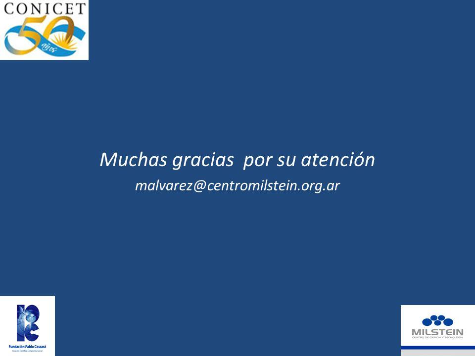Muchas gracias por su atención malvarez@centromilstein.org.ar