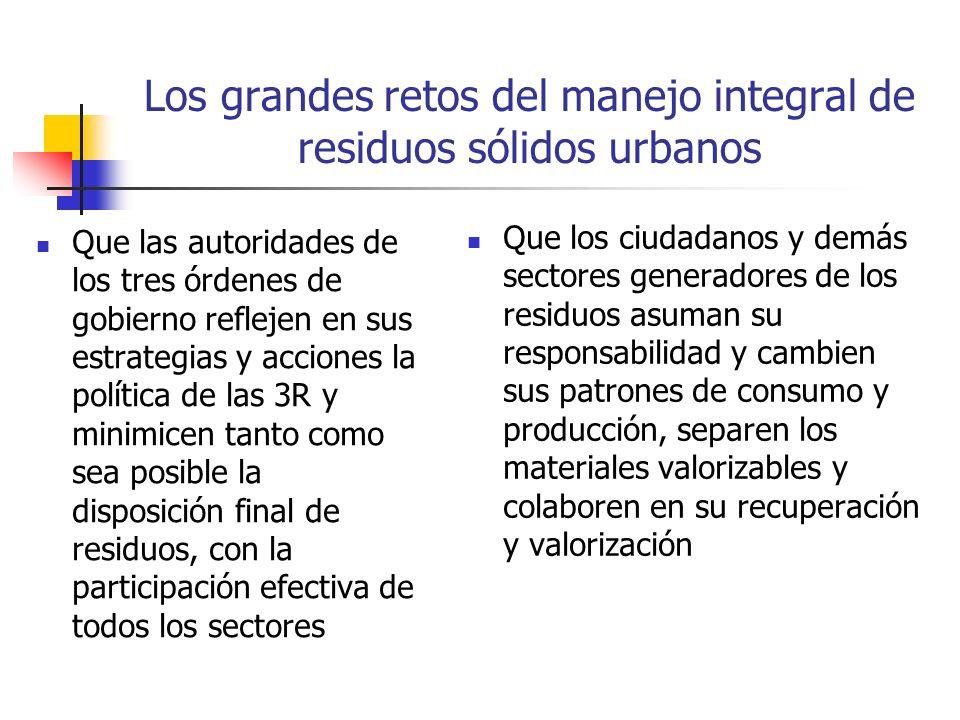 Los grandes retos del manejo integral de residuos sólidos urbanos Que las autoridades de los tres órdenes de gobierno reflejen en sus estrategias y ac