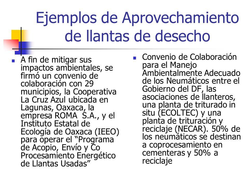 Ejemplos de Aprovechamiento de llantas de desecho A fin de mitigar sus impactos ambientales, se firmó un convenio de colaboración con 29 municipios, la Cooperativa La Cruz Azul ubicada en Lagunas, Oaxaca, la empresa ROMA S.A., y el Instituto Estatal de Ecología de Oaxaca (IEEO) para operar el Programa de Acopio, Envío y Co Procesamiento Energético de Llantas Usadas Convenio de Colaboración para el Manejo Ambientalmente Adecuado de los Neumáticos entre el Gobierno del DF, las asociaciones de llanteros, una planta de triturado in situ (ECOLTEC) y una planta de trituración y reciclaje (NECAR).
