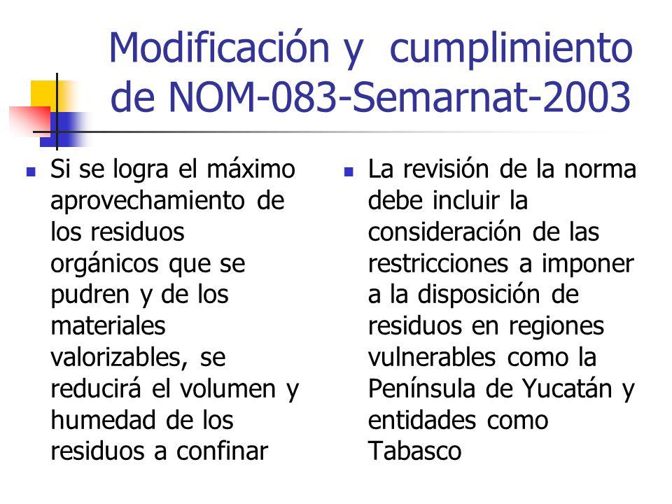 Modificación y cumplimiento de NOM-083-Semarnat-2003 Si se logra el máximo aprovechamiento de los residuos orgánicos que se pudren y de los materiales valorizables, se reducirá el volumen y humedad de los residuos a confinar La revisión de la norma debe incluir la consideración de las restricciones a imponer a la disposición de residuos en regiones vulnerables como la Península de Yucatán y entidades como Tabasco