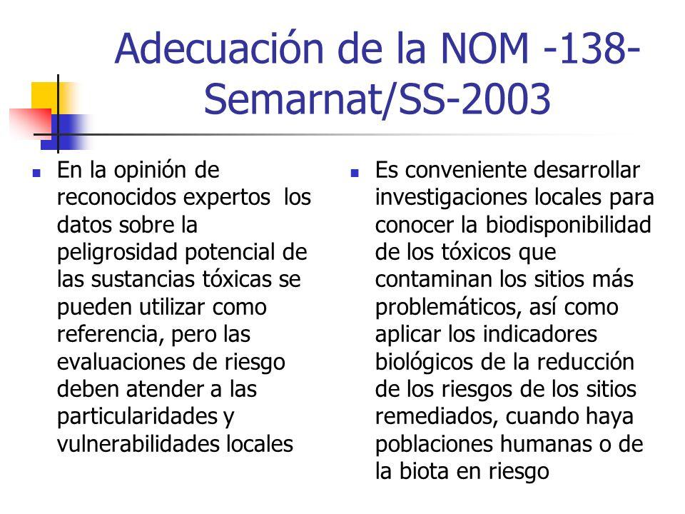 Adecuación de la NOM -138- Semarnat/SS-2003 En la opinión de reconocidos expertos los datos sobre la peligrosidad potencial de las sustancias tóxicas se pueden utilizar como referencia, pero las evaluaciones de riesgo deben atender a las particularidades y vulnerabilidades locales Es conveniente desarrollar investigaciones locales para conocer la biodisponibilidad de los tóxicos que contaminan los sitios más problemáticos, así como aplicar los indicadores biológicos de la reducción de los riesgos de los sitios remediados, cuando haya poblaciones humanas o de la biota en riesgo
