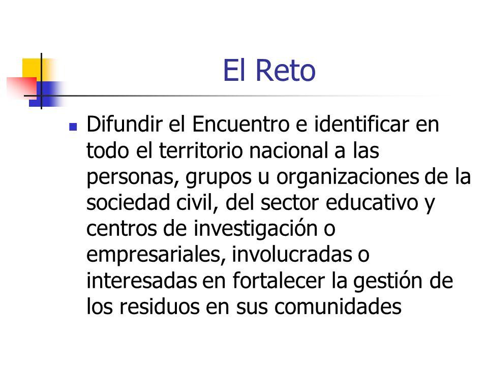 El Reto Difundir el Encuentro e identificar en todo el territorio nacional a las personas, grupos u organizaciones de la sociedad civil, del sector ed