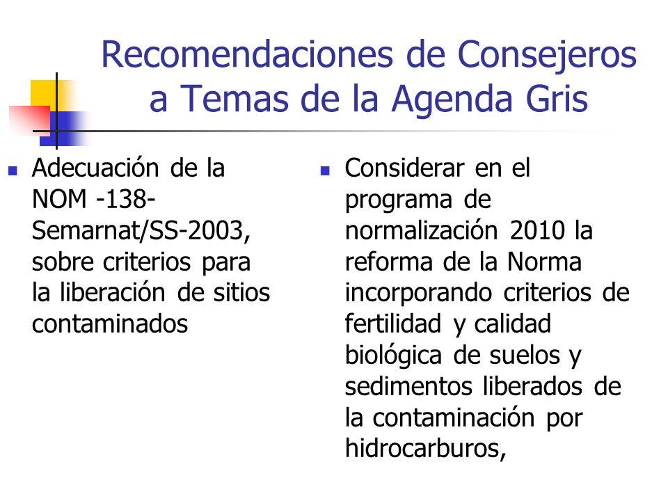 Recomendaciones de Consejeros a Temas de la Agenda Gris Adecuación de la NOM -138- Semarnat/SS-2003, sobre criterios para la liberación de sitios contaminados Considerar en el programa de normalización 2010 la reforma de la Norma incorporando criterios de fertilidad y calidad biológica de suelos y sedimentos liberados de la contaminación por hidrocarburos,