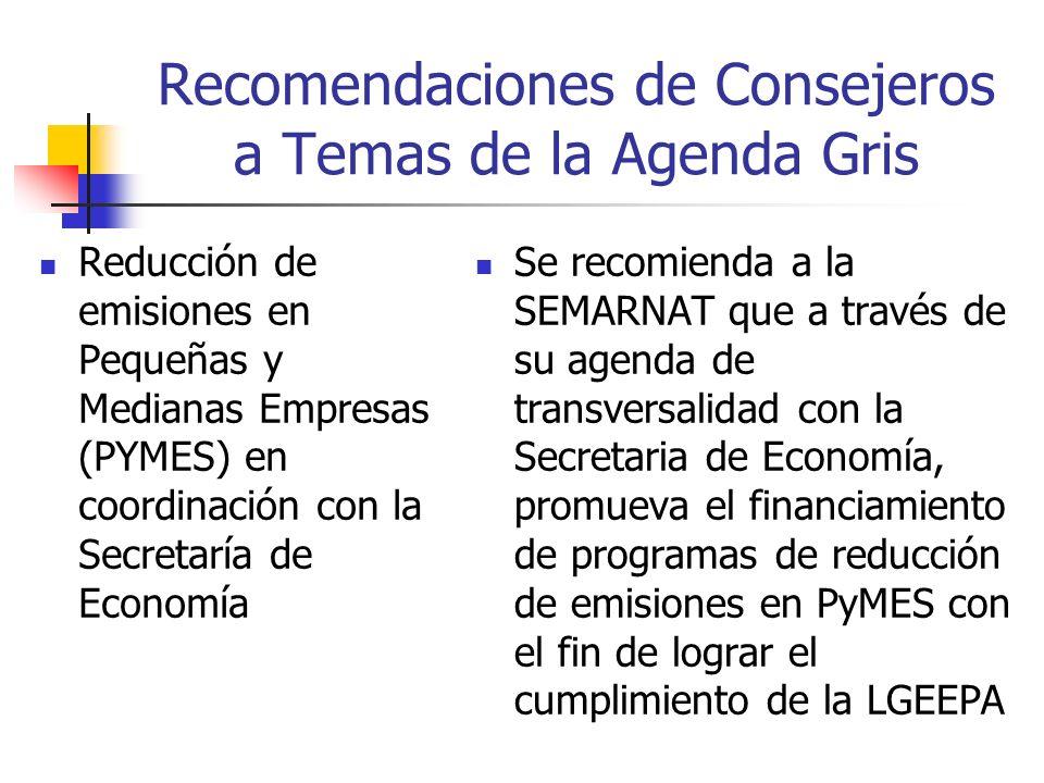 Recomendaciones de Consejeros a Temas de la Agenda Gris Reducción de emisiones en Pequeñas y Medianas Empresas (PYMES) en coordinación con la Secretaría de Economía Se recomienda a la SEMARNAT que a través de su agenda de transversalidad con la Secretaria de Economía, promueva el financiamiento de programas de reducción de emisiones en PyMES con el fin de lograr el cumplimiento de la LGEEPA