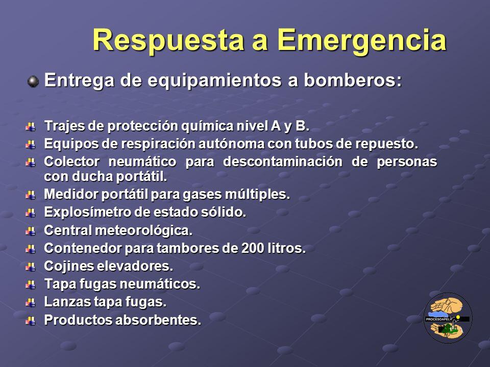 Entrega de equipamientos a bomberos: Trajes de protección química nivel A y B. Equipos de respiración autónoma con tubos de repuesto. Colector neumáti