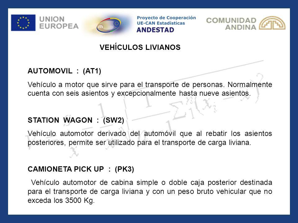 AUTOMOVIL : (AT1) Vehículo a motor que sirve para el transporte de personas. Normalmente cuenta con seis asientos y excepcionalmente hasta nueve asien