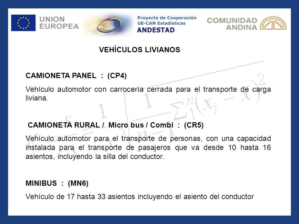 CAMIONETA PANEL : (CP4) Vehículo automotor con carrocería cerrada para el transporte de carga liviana. CAMIONETA RURAL / Micro bus / Combi : (CR5) Veh