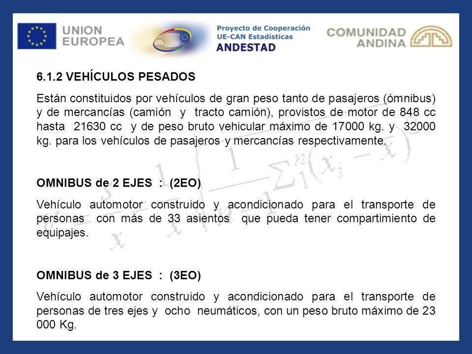 6.1.2 VEHÍCULOS PESADOS Están constituidos por vehículos de gran peso tanto de pasajeros (ómnibus) y de mercancías (camión y tracto camión), provistos